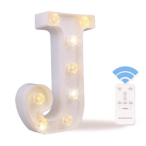 Obrecis LED Letter Lights White Marquee Letters Alphabet Light Up Sign with Diamond Bulbs Remote Control Timer Dimmable Wedding Birthday Party Decoration Letters ()