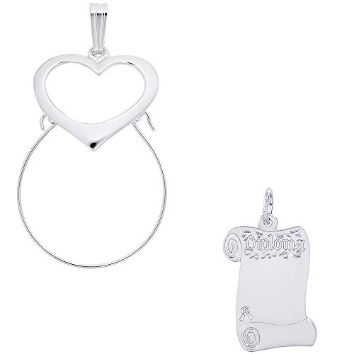 Rembrandt Charms Blank Opened Diploma Charm on a Rembrandt Charms Heart Charm Holder