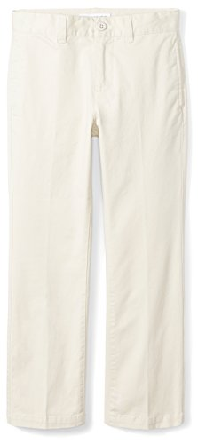 Amazon Essentials Boys' Straight Leg Flat Front Uniform Chino Pant, Light Khaki,12 by Amazon Essentials