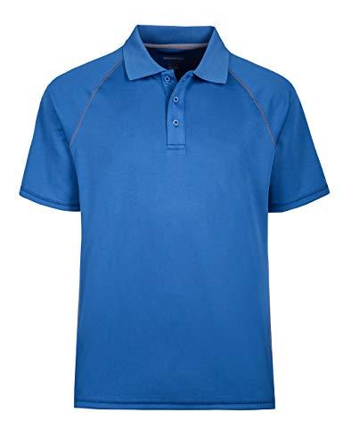 Men's Performance Polo Shirt Moisture Free Mesh Sport Tops Shirt Blue L