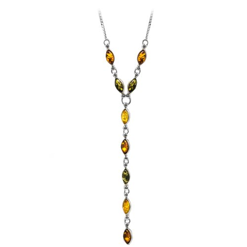 Multicolor Amber Sterling Silver Long Necklace 18