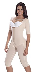 Fajas Colombianas MariaE Post-surgery Post partum with Sleeves Beige 9142