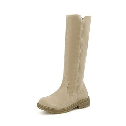 AdeeSu Ladies Square Heels Platform Pull-On Frosted Boots Beige vUxZZQtNP4
