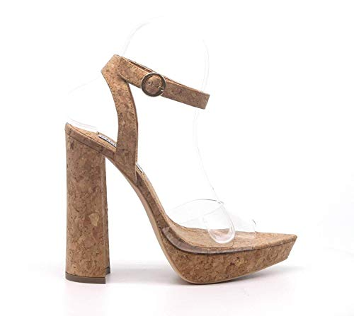 - CAPE ROBBIN Lovely Clear Open Pointy Toe Embossed Chunky Platform Heel (8.5, Cork)