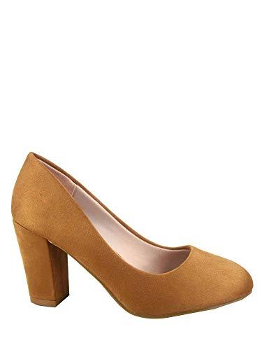 (FZ-Songful-3 Women's Fashion Round Toe Chunky Heel Faux Suede Dress Pump Shoes (10 B(M) US, Tan))