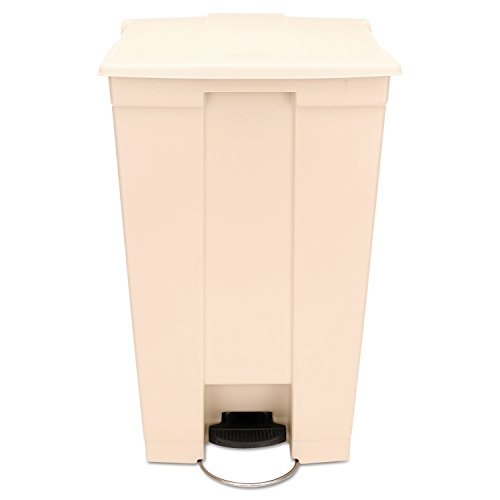 Rubbermaid Commercial FG614600BEIG HDPE Step-On Mobile Trash Can,  23-Gallon Capacity, Beige