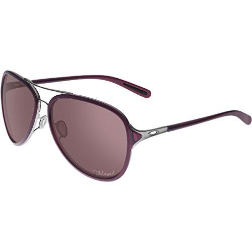Oakley Women's Kickback OO4102-05 Polarized Aviator Sunglasses, Black Ice, 58 - And Purple Oakleys Black