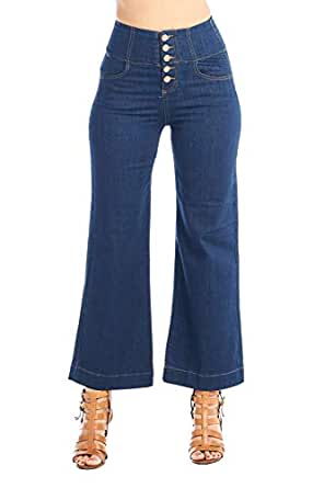 Khanomak Women's High-Rise Waist 5 Button Front Wide Leg Denim Jean Vintage Culottes Pants (9, Dark Blue)