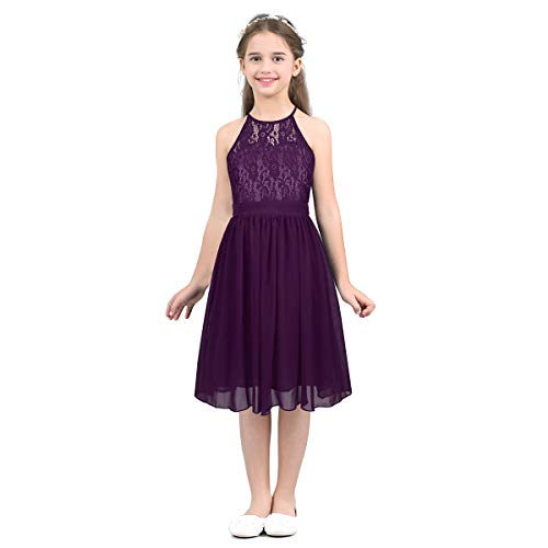Floral Sequined Halter Top - YiZYiF Big Girls' Halter Sequins Lace Chiffon Flower Dress Junior Wedding Bridesmaid Prom Party Gowns Purple 10