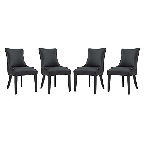Modway Marquis Modern Faux Leather Upholstered Parsons Four Kitchen and Dining Room Chairs with Nailhead Trim in Black