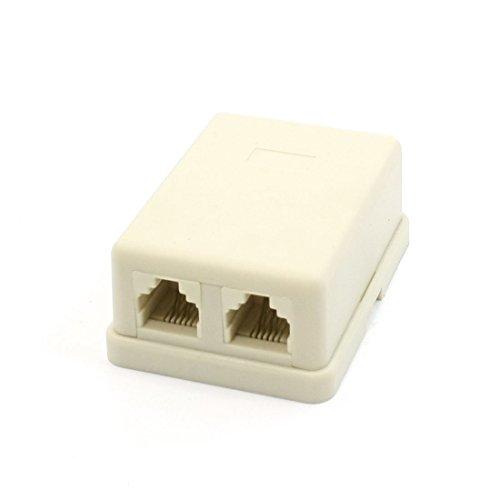 Uxcell RJ11 Female Socket Phone Line ADSL Splitter/Modem, Beige