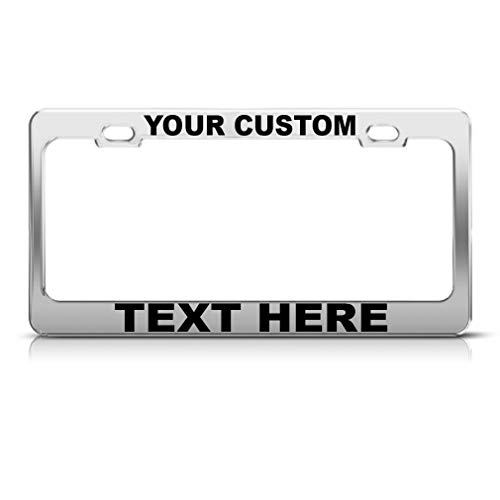 Custom Personalized License Plate Frame Car Auto Steel Tag Holder Chrome 2 Holes -