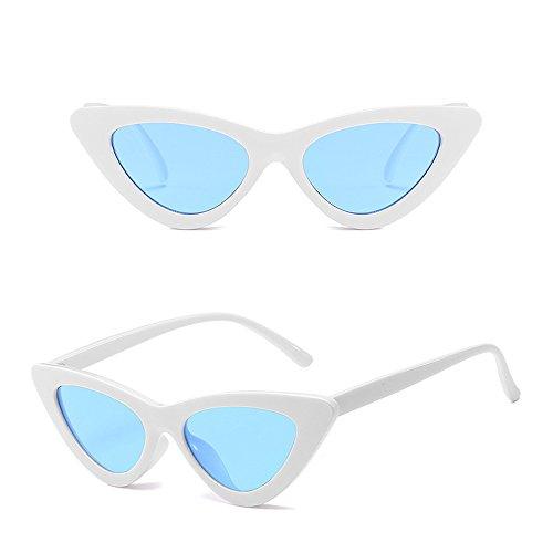 Oeil Lunettes Classique Soleil BOZEVON Rétro Homme de chat Bleu Mode de Unisexe Blanc Lunettes Femme Triangle wqn0pnR