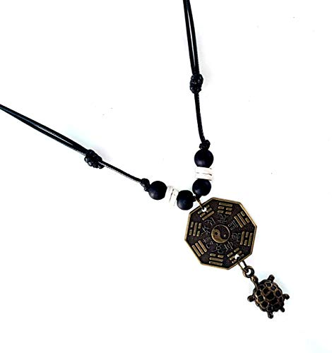 LAVIP Leather Sea Turtle Yin Yang Necklace Ying Yang Pendant Tai-chi Symbol Tao Necklace Feng Shui Necklace