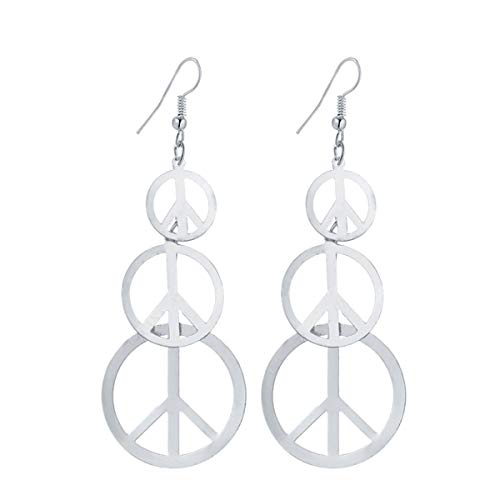 IDB Delicate Filigree Dangle Long Anti war/Peace Sign Hook Earrings - Available in Silver and Gold Tones (Silver Tone)