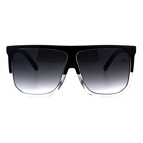 (Oversized Style Sunglasses Flat Top Square Modern Fashion UV 400 Black/Clear )