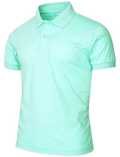 BCPOLO Men's Polo Shirt Pique T-Shirt Short Sleeve Polo Shirt Various color Mint,US_X-Large(Asian - Us Asian Polo