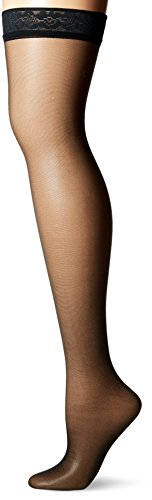 Black Silk 60s - Hanes Women's Silk Reflections Thigh Highs, Jet, A/B
