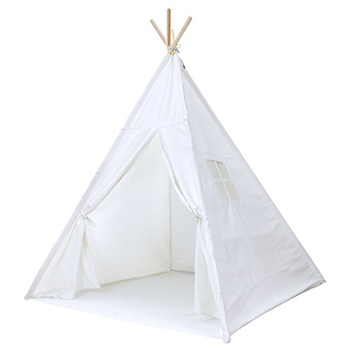 - Kids Teepee Tent for Kids, No Toxic Chemicals Added, Carrying Case, White Play Tents Indoor for Boys & Girls Large Enough Tipi for Toddler Dog Baby Boy Adult Children Adults Dogs, Childs Reading Nook