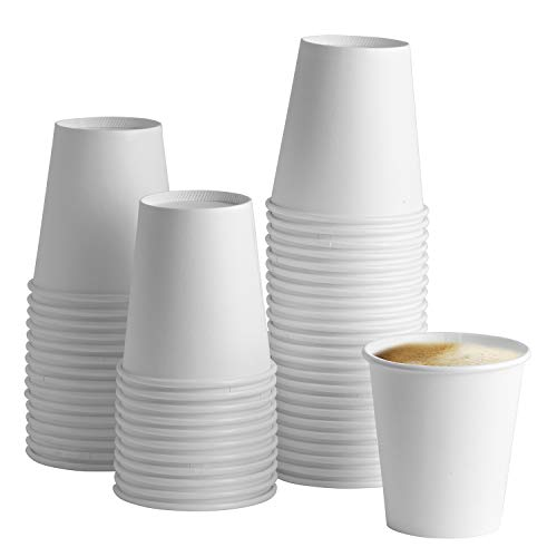 [100 Pack] 10 oz. White Paper Hot Cups - Coffee Cups]()