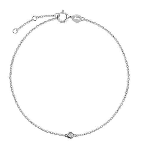Carleen 18K Solid Gold One Diamond Bracelet Minimalist Dainty Delicate Fine Jewelry for Women Girls (White Gold)