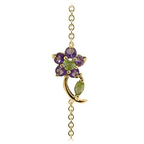 QP bijoutier Améthyste & Bracelet en or 9 carats-Péridot, pierre ronde - 5039Y 0.87ct