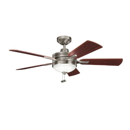 Kichler Lighting 300148AP Logan 52-Inch Ceiling Fan, Antique Pewter Finish with Reversible Light/Dark Cherry Blades and Integrated Light (Antique Pewter Five Light Chandelier)