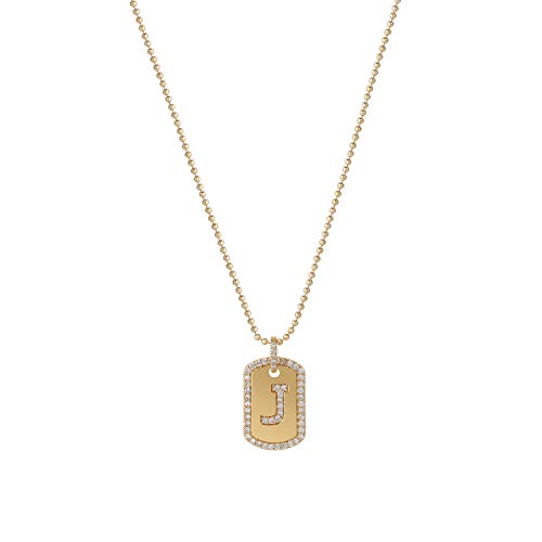 Gold Initial Necklace,Women 14K Gold Plated Military Ball Beads Chain Dog Tag Necklace Handmade Dainty CZ Boys Necklace 17.10