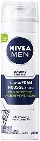 NIVEA Men Sensitive Skin Shaving Foam (200mL), Shaving Foam for Sensitive Skin, Allows for a Close Razor Shave