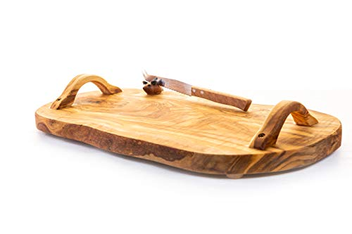 Handmade Cheese - Arte Legno Spello Hand Made Olive Wood Cheese Board with Knife | Rustic Olive Wood Cheese Platters - Available Small and Large | Hand Crafted in Italy (Small 11.8 x 7.8 inches)
