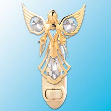 Angel With Doves Night Light..... Clear Swarovski Austrian Crystals