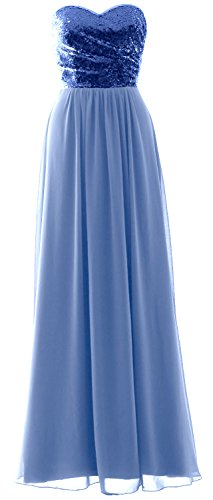 Royal Strapless Gown Elegant Sequin Long Chiffon Sky Blue Party Blue Dress Formal MACloth Bridesmaid Tqz5axv5