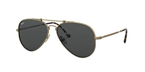 Ray-Ban RB8125 Aviator Titanium Sunglasses, Antique Gold Demigloss/Dark Grey, 58 ()
