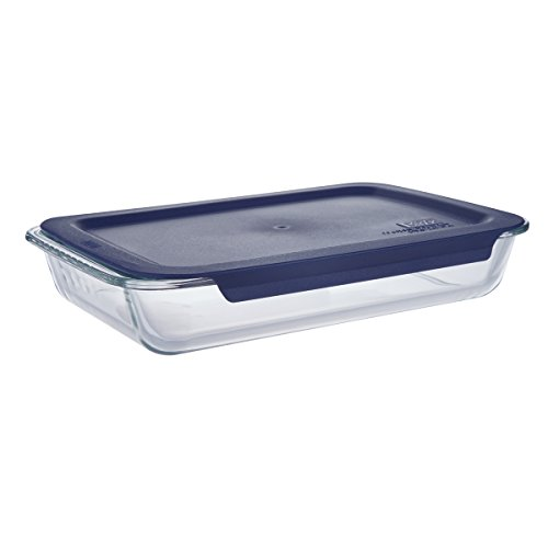 ass Oblong Baking Dish with Blue Plastic Lid - 13.8 x 8.7 x 2.5 inches ()