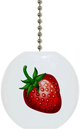 Round Strawberries Design Solid Ceramic Fan Pull