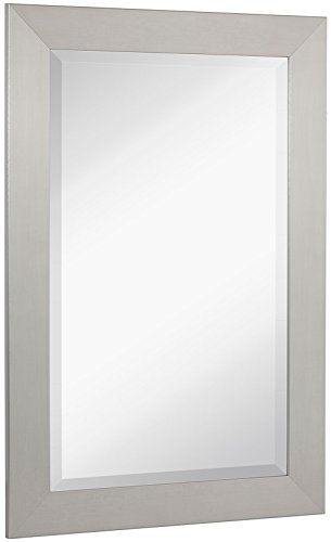 NEW Pewter Modern Metallic Look Rectangle Wall Mirror | Brushed Metal Appearance | Contemporary Simple Design Beveled Glass Vanity, Bedroom, or Bathroom | Hanging Horizontal or Vertical | Made in USA by Hamilton Hills