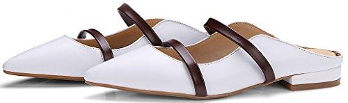 Calaier Womens Cacommon Pekte Tå 1cm Flat Slip-on Muldyr Sko Hvit
