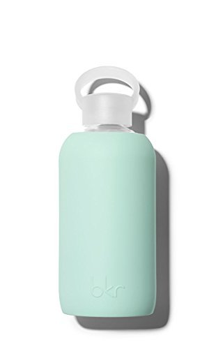 bkr BPA Free Silicone Sleeve Glass Water Bottle, 16oz / 500 ml Lou Opaque Mint Green