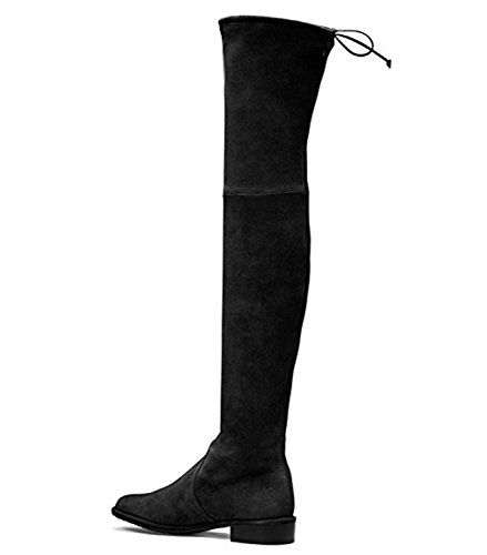 ACEDICHY Knee High Boots,Women's Round Toe Thigh High Over The Knee Boots Stretch Suede Flat Heel Tall (Wide Calf Lace Up Boots)