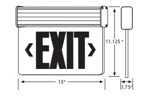 Ciata Lighting Single Face Edge Lit Emergency Exit Sign With Battery Backup - Clear Panel (Green)