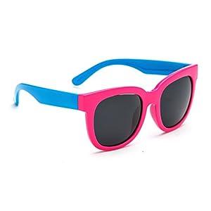 TIJN Kids Flex Rubber Polarized Wayfarer Sunglasses for Boys Toddler Ages 3-5