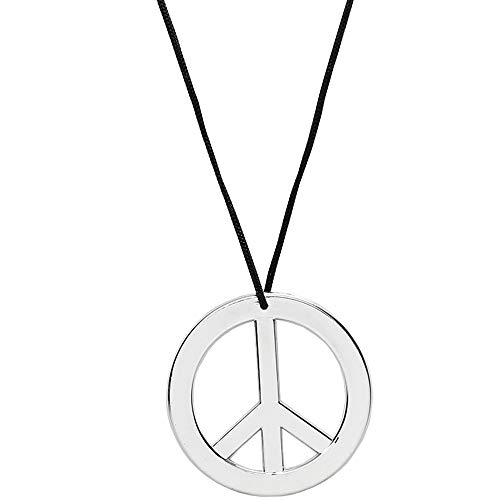 Skeleteen Silver Peace Sign Pendant - 1960s 1970s Hippie Party Accessories Necklace - 1 ()
