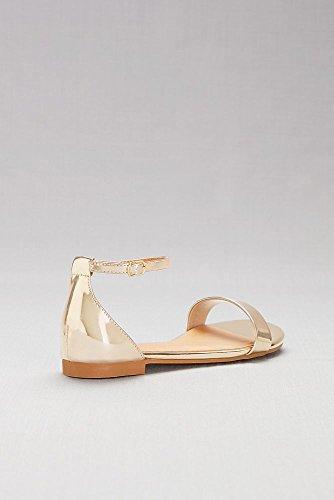 David's Bridal Single-Strap Mirror Metallic Flat Sandals Style Marlie, Gold Metallic, 10 by David's Bridal (Image #1)