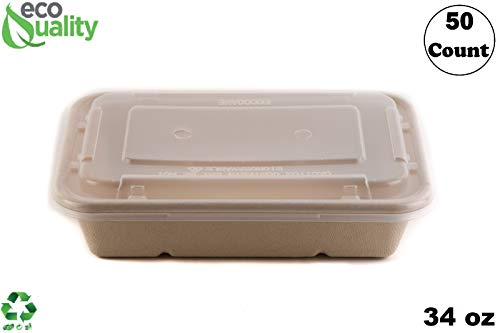 [50 Pack] 34oz Compostable Eco Friendly Container Trays with Lids - Rectangular Oblong Tree Free Sugarcane Bagasse Meal Prep Bento Boxes Take Out Catering Microwavable Deep Container by EcoQuality