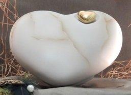 Tierurne - Herz aus Keramik, Braun marmoriert, Vol.: ca. 1,00 Ltr.