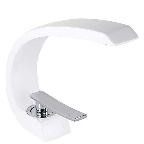 Homary 1-Handle Single Hole Solid Brass Sink Faucet for Bathroom Curved Spout with Drain Assembly and Supply Hose cUPC Lavatory Mixer Tap Lead Free, Glossy White (White Handle Bathroom Faucet)