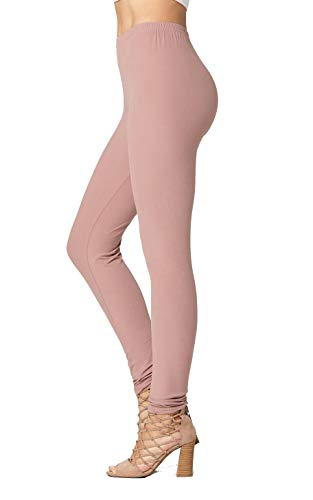Conceited Super Soft High Waisted Women's Leggings - Opaque Full Ankle Length - Mauve Pink - One Size (0-10)