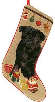 Black Pug with Gifts Needlepoint Stocking