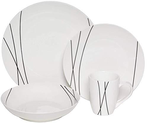 - Melange Coupe 16 Piece Porcelain Dinner Set (Black Lines)| Service for 4 | Microwave, Dishwasher & Oven Safe | Dinner Plate, Salad Plate, Soup Bowl & Mug (4 Each)