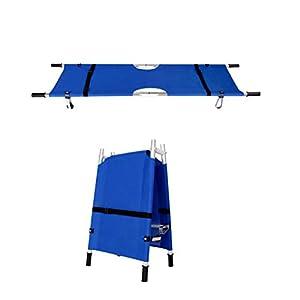 Dbtxwd Ensanchador médico Azul, Camilla Plegable Ligera del Rescate de los Primeros Auxilios del Paciente con la polea 9